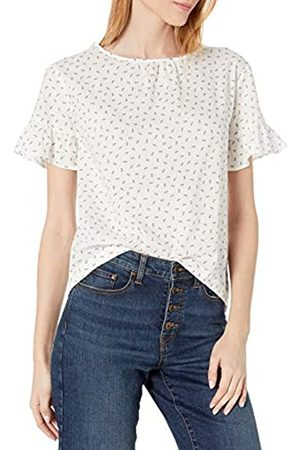 Goodthreads T-Shirt in Cotone Dobby con Maniche Flutter Shirts, /Stampa Indaco, US M