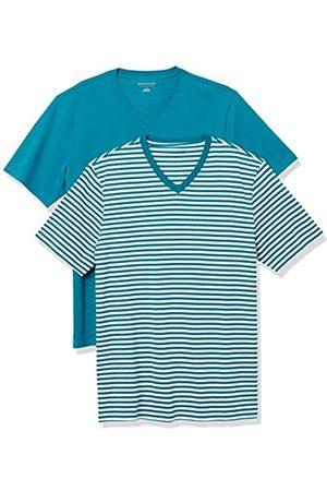 Amazon 2-Pack Slim-Fit V-Neck T-Shirt Fashion-t-Shirts, Teal-White Stripe/Teal, US S