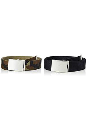 FIND Marchio Amazon - Cintura in Tessuto Uomo, Pacco da 2, Multicolore , S, Label: S