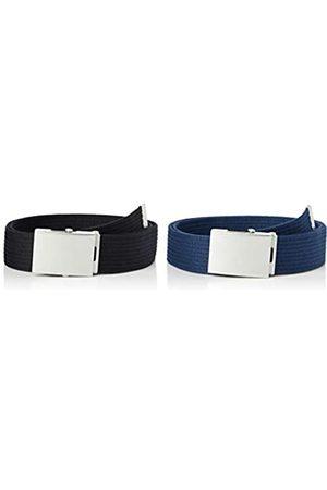 FIND Marchio Amazon - Cintura in Tessuto Uomo, Pacco da 2, Nero , S, Label: S