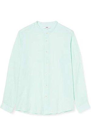 FIND Marchio Amazon - Camicia di Lino a Manica Lunga Uomo, Green , L, Label: L