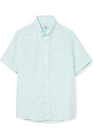 FIND Uomo Casual - Marchio Amazon - - Short Sleeve Linen, Camicia Uomo, Green , XS, Label: XS