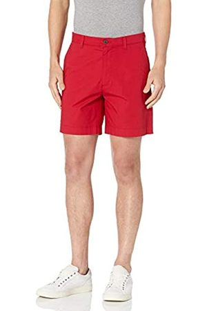 "Amazon Regular-Fit Lightweight Stretch 7"" Short Athletic-Shorts, Red Microstripe, 32"