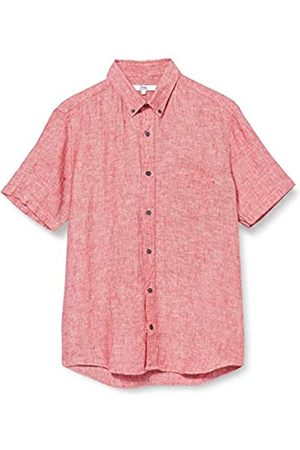 FIND Marchio Amazon - - Short Sleeve Linen, Camicia Uomo, Red , M, Label: M