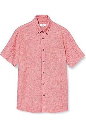 FIND Marchio Amazon - Camicia di Lino a Manica Corta Uomo, Red , S, Label: S