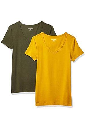 2 Pack Slim Fit Short Sleeve V Neck T Shirt Fashion t Shirts, GoldOlive, US L