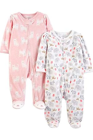 Simple Joys by Carter's 2-Pack Fleece Footed Sleep Play Infant-And-Toddler-Bodysuit-Footies, White Animals Green/Pink Kitty, Newborn, Pacco da 2