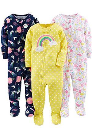 Simple Joys by Carter's Confezione da 3 pigiami in cotone con piedini ,Dinosaur, Space, Rainbow ,12 Months