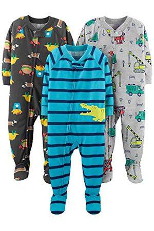 Simple Joys by Carter's Baby and Toddler - Pigiama per bambini in jersey di poliestere con piede, confezione da 3 ,Food/Trucks/Alligator ,18 Months