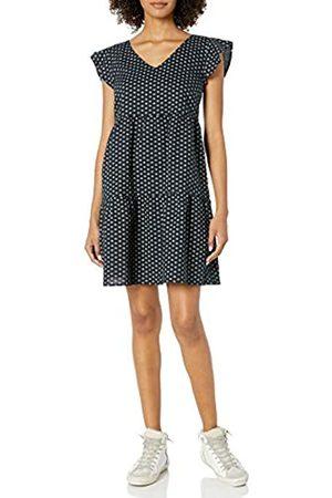 Goodthreads Washed Linen Blend Flutter Sleeve Peasant Dress Dresses, Black Floral DOT, US M