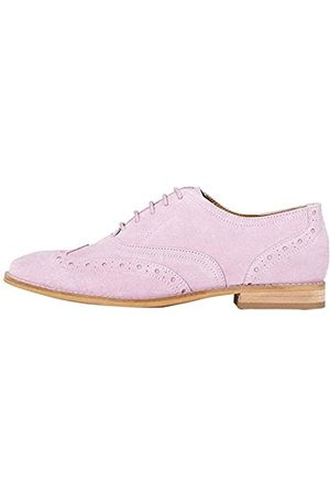 FIND Marchio Amazon - Leather Scarpe Stringate Brouge, Pink , 37 EU