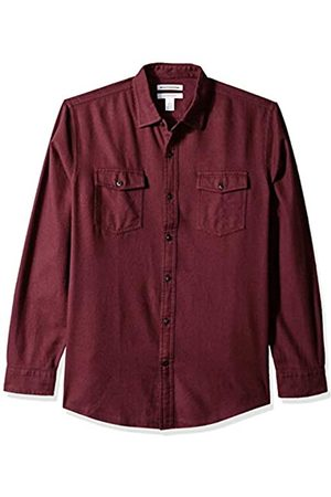 Amazon Regular-Fit Long-Sleeve Solid Flannel Shirt Button-Down-Shirts, Burgundy Heather, US