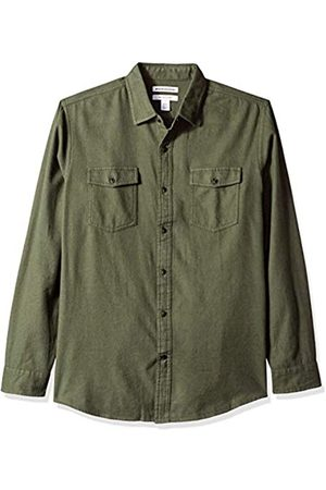 Amazon Regular-Fit Long-Sleeve Solid Flannel Shirt Button-Down-Shirts, Olive Heather, US