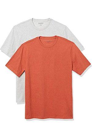 Amazon 2-Pack Slim-Fit Crewneck T-Shirt Fashion-t-Shirts, Orange Heather/Light Heather Grey, US