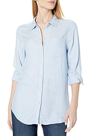 Daily Ritual Amazon Brand - Women's Soft Rayon Slub Twill Long-Sleeve Button-Front Tunic, Blue Crossdye , XX-Large