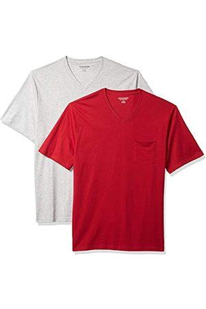 Amazon 2-Pack Loose-Fit V-Neck Pocket T-Shirt Fashion-t-Shirts, Red/Light Heather Grey, US XXL