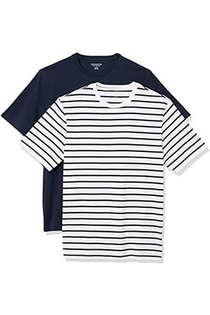 Amazon Set Composto da 2 Magliette a Girocollo a Maniche Corte Fashion-t-Shirts, e Navy Brennan Stripe/Navy, US S