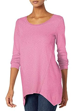 Daily Ritual Donna Top - Cotton Modal Stretch Slub Long-Sleeve Seamed Top Athletic-Shirts, Peony Pink, US L