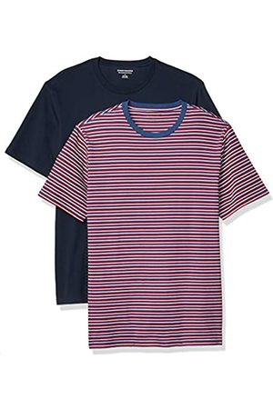 Amazon Uomo Polo - 2-Pack Slim-Fit Crewneck T-Shirt Fashion-t-Shirts, Red, White, Blue Feeder/Navy, US S