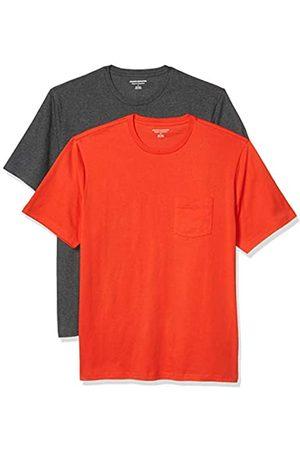 Amazon 2-Pack Loose-Fit Crewneck Pocket T-Shirt Fashion-t-Shirts, Bright Orange/Charcoal Heather Grey, US S
