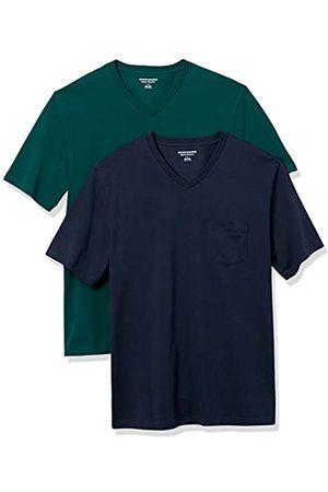 Amazon 2-Pack Loose-Fit V-Neck Pocket T-Shirt Fashion-t-Shirts, Dark Green/Dark Navy, US