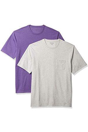 Amazon Uomo Polo - 2-Pack Loose-Fit Crewneck Pocket T-Shirt Fashion-t-Shirts, Purple Heather/Light Heather Grey, US M