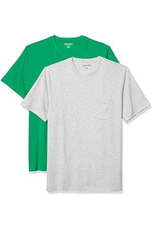 Amazon 2-Pack Slim-Fit Crewneck Pocket T-Shirt Fashion-t-Shirts, Bright Green/Light Heather Grey, US XXL