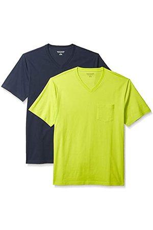 Amazon 2-Pack Loose-Fit V-Neck Pocket T-Shirt Fashion-t-Shirts, Lime/Dark Navy, US S
