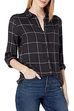 Daily Ritual Amazon Brand - Women's Soft Rayon Slub Twill Long-Sleeve Button-Front Tunic, Black Shadow Windowpane , Large