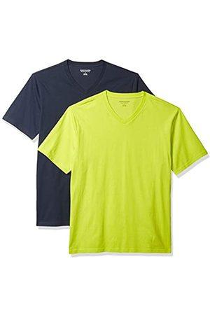 Amazon 2-Pack Loose-Fit V-Neck T-Shirt Fashion-t-Shirts, Lime/Dark Navy, US XXL