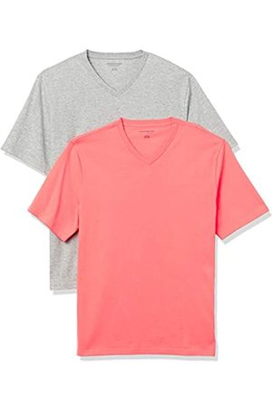 Amazon 2-Pack Loose-Fit V-Neck T-Shirt Fashion-t-Shirts, Heather Grey/Coral, US