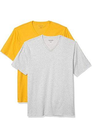 Amazon 2-Pack Loose-Fit V-Neck T-Shirt Fashion-t-Shirts, Mango/Light Heather Grey, US XXL