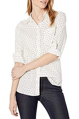 Goodthreads Cotton Dobby Long-Sleeve Button-Front Tunic Shirt Shirts, White/Indigo Sprig Print, US XL