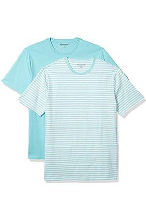 Amazon 2-Pack Slim-Fit Crewneck T-Shirt Fashion-t-Shirts, Aqua-White Stripe/Aqua, US