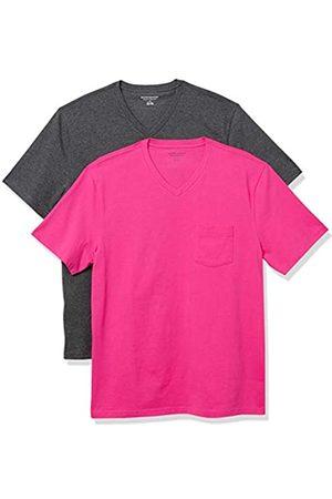 Amazon 2-Pack Loose-Fit V-Neck Pocket T-Shirt Fashion-t-Shirts, Hot Pink/Charcoal Heather Grey, US