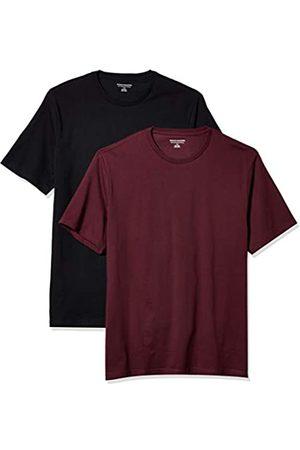 Amazon 2-Pack Slim-Fit Crewneck T-Shirt Fashion-t-Shirts, Burgundy/Black, US L