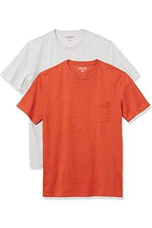 Amazon 2-Pack Slim-Fit Crewneck Pocket T-Shirt Fashion-t-Shirts, Orange Heather/Light Heather Grey, US XXL