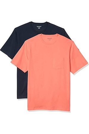 Amazon 2-Pack Loose-Fit Crewneck Pocket T-Shirt Fashion-t-Shirts, Coral/Dark Navy, US