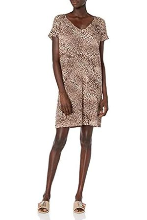 Daily Ritual Supersoft Terry Dolman-Sleeve V-Neck Dress Dresses, Stampa Leopardata, US