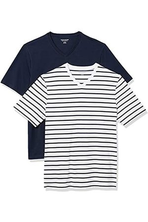 Amazon 2-Pack Loose-Fit V-Neck T-Shirt Fashion-t-Shirts, White And Navy Brennan Stripe/Navy, US