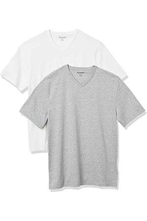 Amazon 2-Pack Loose-Fit V-Neck T-Shirt Fashion-t-Shirts, Heather Grey/White, US XXL