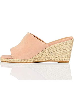 FIND Marchio Amazon - Mule Wedge Leather Sandalo Espadrillas con Zeppa, Rosa , 38 EU