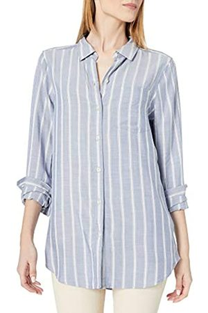 Daily Ritual Amazon Brand - Women's Soft Rayon Slub Twill Long-Sleeve Button-Front Tunic, Chambray Blue Awning Stripe, X-Small