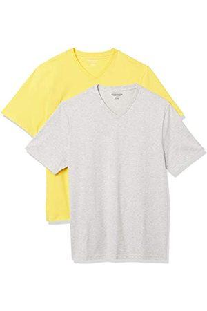 Amazon 2-Pack Loose-Fit V-Neck T-Shirt Fashion-t-Shirts, Yellow/Light Heather Grey, US M