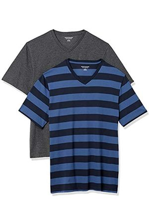 Amazon 2-Pack Loose-Fit V-Neck T-Shirt Fashion-t-Shirts, Blue And Navy Rugby Stripe/Charcoal Heather, US