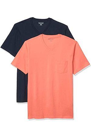 Amazon 2-Pack Slim-Fit V-Neck Pocket T-Shirt Fashion-t-Shirts, Corallo/ Scuro, US M