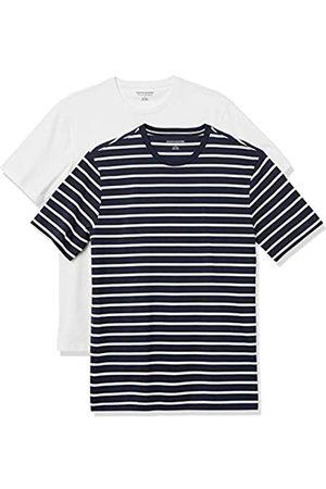 Amazon 2-Pack Slim-Fit Crewneck T-Shirt Fashion-t-Shirts, Navy And White Brennan Stripe/White, US S