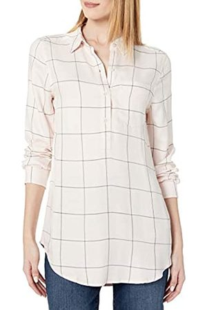 Daily Ritual Amazon Brand - Women's Soft Rayon Slub Twill Long-Sleeve Popover Tunic, Pink Shadow Windowpane , Large