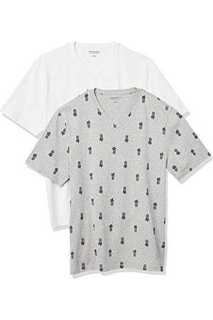Amazon 2-Pack Loose-Fit V-Neck T-Shirt Fashion-t-Shirts, Pineapple/White, US XXL