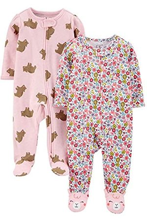 Simple Joys by Carter's Confezione da 2 Zip A 2 Vie in Cotone per Dormire E Giocare. Infant-And-Toddler-Bodysuit-Footies, Orsi /Floreale, US NB
